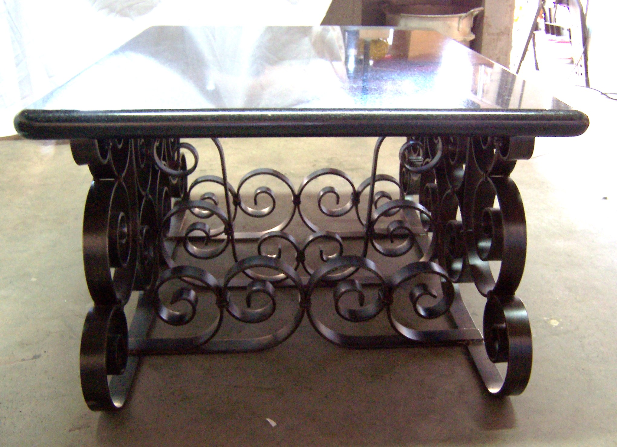 Scrolled metal and wood coffee table - Metal Scroll Coffee Table With Marble Top And Iron Base F